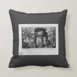 Giovanni Piranesi- Ruins of the pronaos of temple Throw Pillow