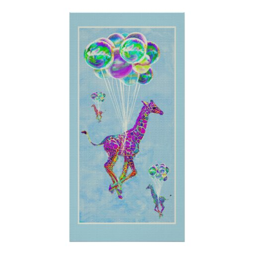 girafe avec des ballons posters