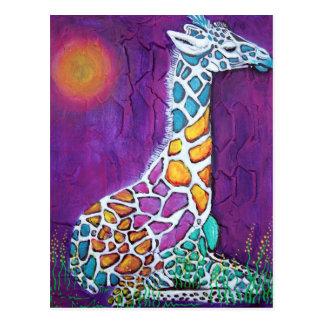 Girafe d'arc-en-ciel carte postale