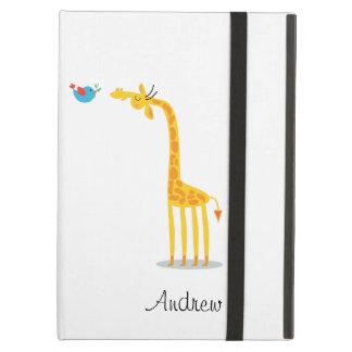 Girafe et oiseau mignons de bande dessinée
