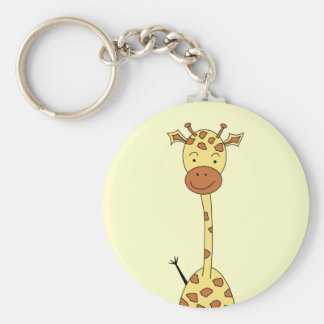 Girafe mignonne grande. Animal de bande dessinée Porte-clé Rond