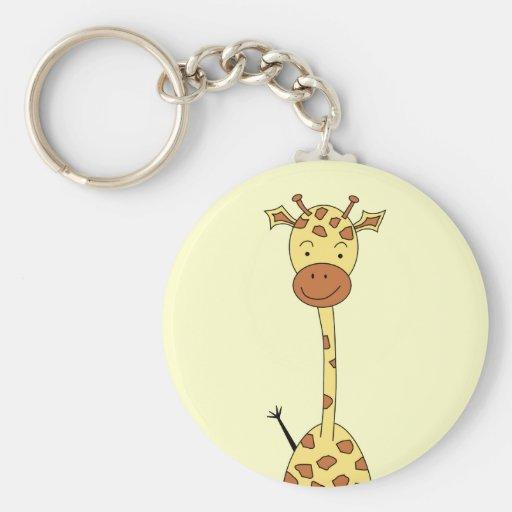 Girafe mignonne grande. Animal de bande dessinée Porte-clefs