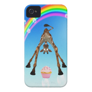 Girafe, petit gâteau et arc-en-ciel mignons