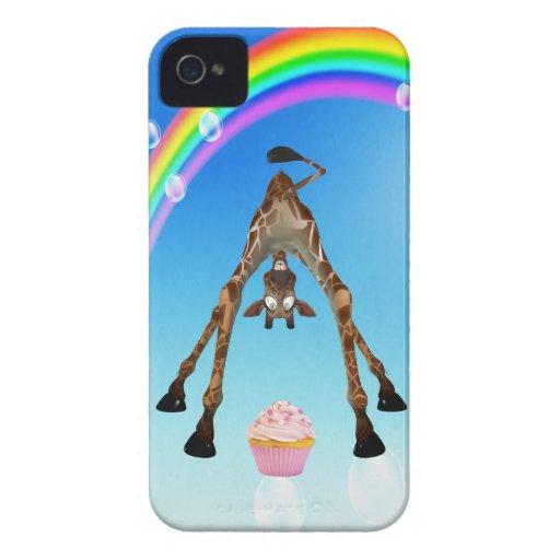Girafe, petit gâteau et arc-en-ciel mignons coques iPhone 4