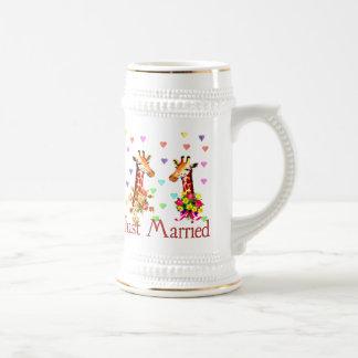 Girafes de mariage chope à bière