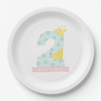 Giraffe 2nd Birthday Party Decor 9 Inch Paper Plate