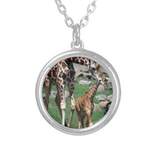 Giraffe Africa Safari Animal Personalize Giraffes Silver Plated Necklace