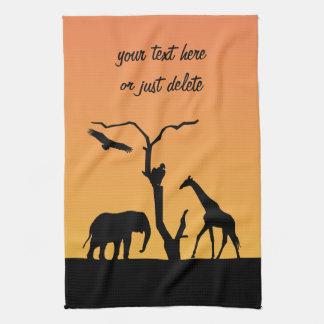 Giraffe africa sunset silhouette custom tea towel