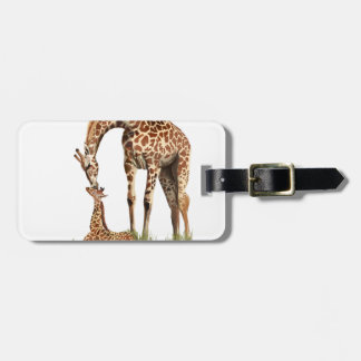Giraffe and baby calf kissing luggage tag