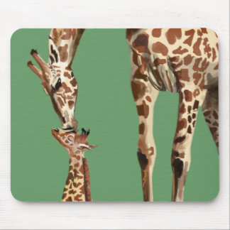 Giraffe and baby calf kissing mouse pad