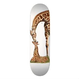 Giraffe and baby calf kissing skate board decks