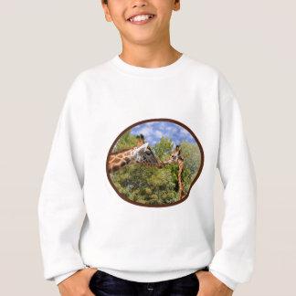 Giraffe and baby in oval frame sweatshirt