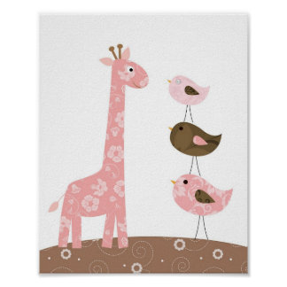 Giraffe and bird nursery art poster