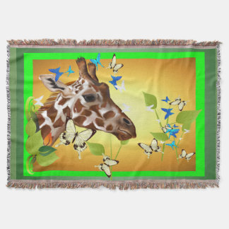 GIRAFFE and BUTTERFLIES Throw Blanket