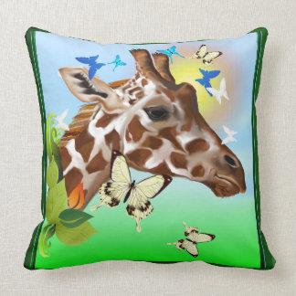 GIRAFFE and BUTTERFLIES Throw Pillow