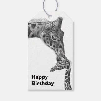 Giraffe and Calf Pack Of Gift Tags