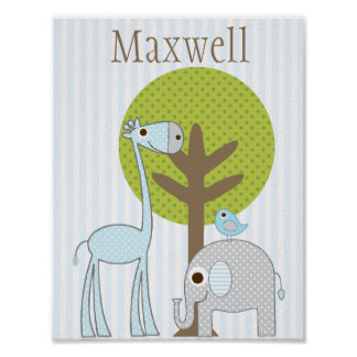 Giraffe and Elephant blue Boy baby room poster