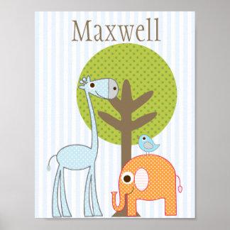 Giraffe and Elephant Boy baby room poster