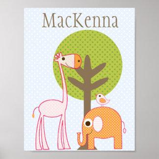 Giraffe and Elephant Girl baby room poster