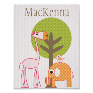 Giraffe and Elephant Girl baby room poster pink