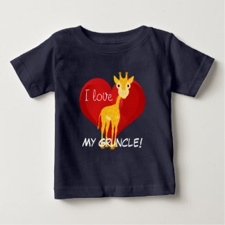 """Giraffe and heart design with """"I love My Gruncle!"""" Baby T-Shirt"""