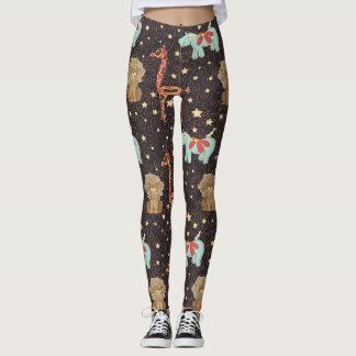 Giraffe and hippopotamus and lions with stars leggings