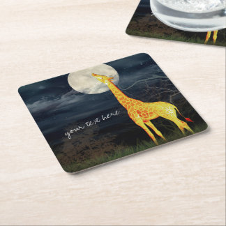 Giraffe and Moon | Custom Drink Coasters