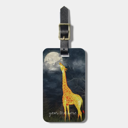 Giraffe and Moon Custom Luggage Tag leather strap
