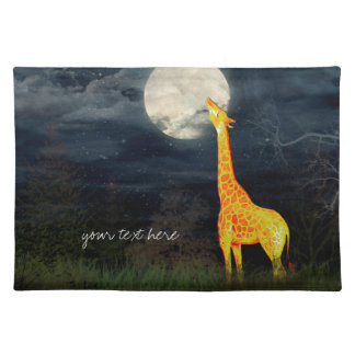 Giraffe and Moon | Custom Placemat Cloth Place Mat