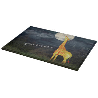 Giraffe and Moon | Decorative Glass Cutting Board