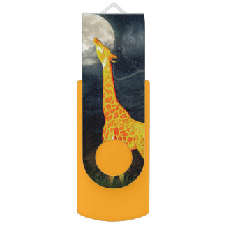 Giraffe and Moon | USB wivel  Flash Drive Swivel USB 2.0 Flash Drive