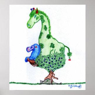 Giraffe and Platypus Poster