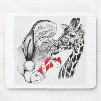 Giraffe and Santa Claus Christmas Mouse Pad