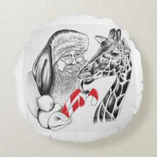 Giraffe and Santa Claus Christmas Round Pillow