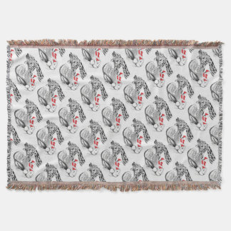 Giraffe and Santa Claus Christmas Throw Blanket