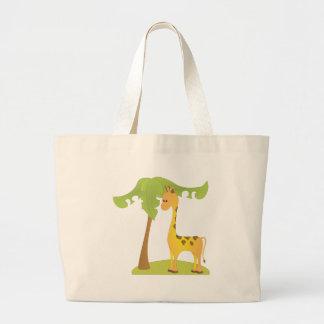 Giraffe and Tree Large Tote Bag