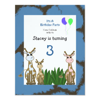 Giraffe Animal Birthday Invitation