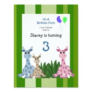 "Giraffe Animal Birthday Invitation 4.25"" X 5.5"" Invitation Card"