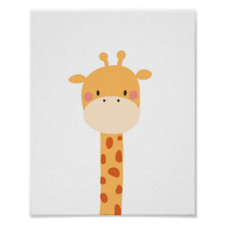 Giraffe Animal Nursery Wall Art Print Jungle Zoo