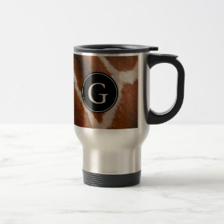 Giraffe Animal Print Pattern | Monogram Travel Mug