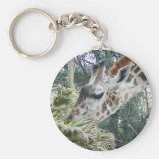 Giraffe at lunch basic round button keychain