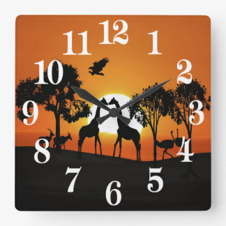 Giraffe at sunset square wall clock