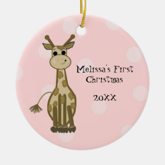 Giraffe Baby First Christmas Ceramic Ornament