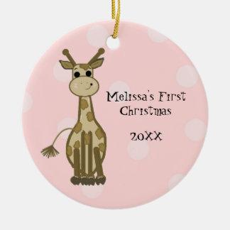 Giraffe Baby First Christmas Round Ceramic Ornament