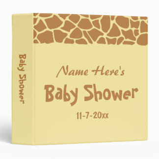 Giraffe Baby Shower 3 Ring Binders