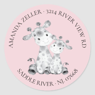 Giraffe Baby Shower Return Address Label