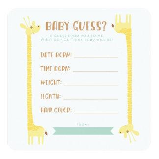 Giraffe Baby Shower Stats Guess Card