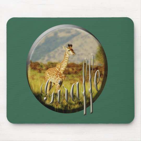 Giraffe baby wildlife safari mousepads green