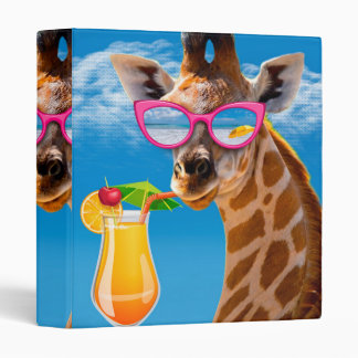 Giraffe beach - funny giraffe 3 ring binders