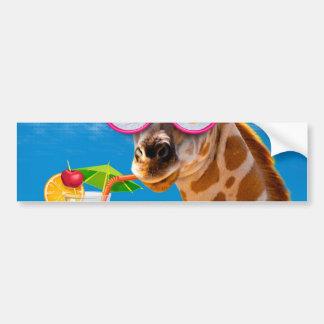 Giraffe beach - funny giraffe bumper sticker